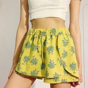 Zara Trafaluc Floral Ruffle Shorts Yellow S